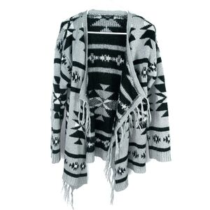 💰Spense Knit aztec print open cardigan
